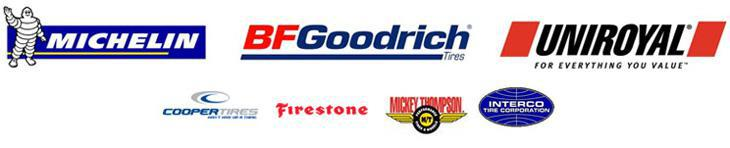 We carry brands such as Michelin®, BFGoodrich®, Uniroyal®, Cooper, Firestone, Mickey Thompson, and Interco.