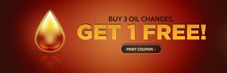 Buy 3 oil changes, get 1 free! Click here to print the coupon.