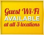 Guest Wi-Fi available at all 3 locations