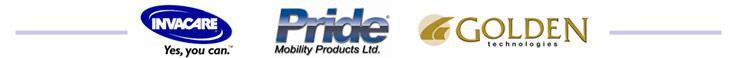 We carry products by Invacare, Pride, and Golden Technologies.