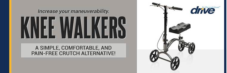 Knee Walkers: A simple, comfortable, and pain-free crutch alternative! Click here to view our selection.