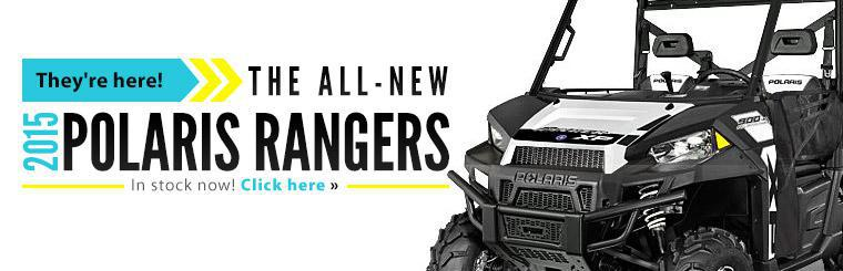 The all-new 2015 Polaris Rangers are in stock now! Contact us for details.