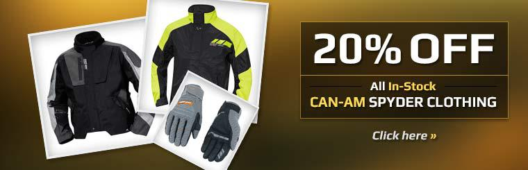 Get 20% off all in-stock Can-Am Spyder clothing!