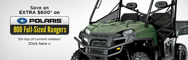 Save an extra $600* on top of current rebates on 2014 Polaris 800 full-sized Rangers!