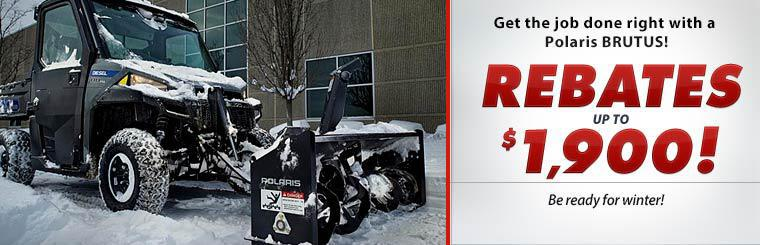 Get the job done right with a Polaris BRUTUS! Get rebates up to $1,900!