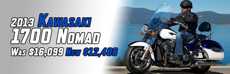 Save over $3600 on a brand new Kawasaki Vulcan 1700 Nomad