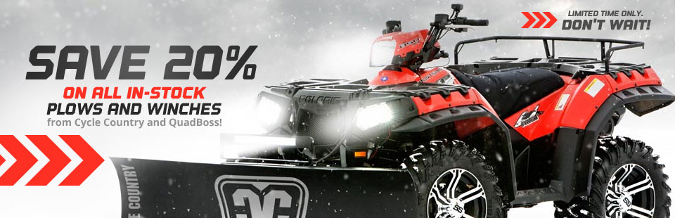 Save 20% on all in-stock plows and winches from Cycle Country and QuadBoss!