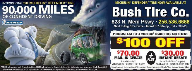 $100 Off Michelin Tires, Huntsville AL