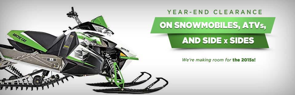 Planet Powersportz year-end clearance on snowmobiles, ATVs, and side x sides to make room for the 2015s!