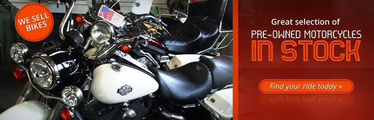 We have a great selection of pre-owned motorcycles in stock. Click here to find your ride today.