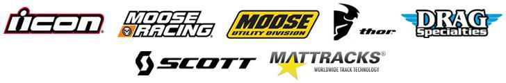 We carry products from Icon, Moose Racing, Moose Utility Division, Thor, Drag Specialties, Scott Goggles, and Mattracks.