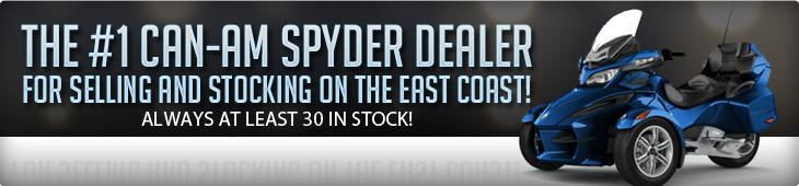 The #1 Can-Am Spyder dealer for selling and stocking on the east coast. Always at least 30 in stock!