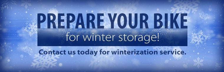 Prepare your bike for winter storage! Contact us today for winterization service.