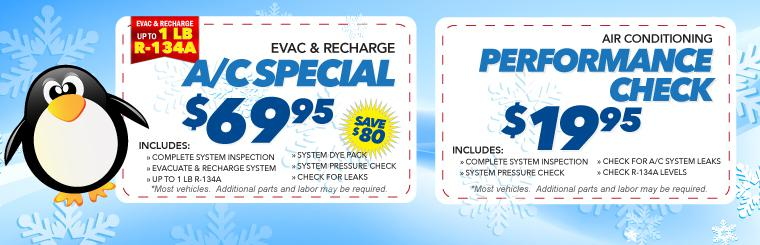 Air Conditioning Evac and Recharge Special