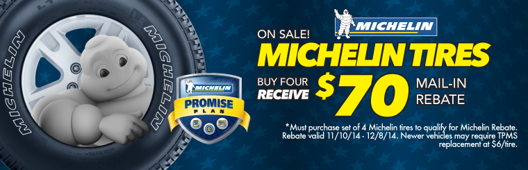 $70 Liquidators Rewards on set of 4 Michelin Tires