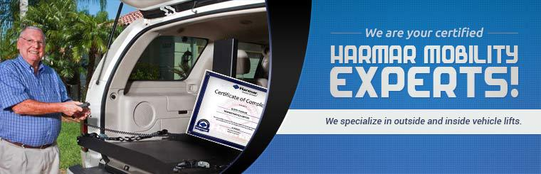 We are your certified Harmar mobility experts, specializing in outside and inside vehicle lifts.