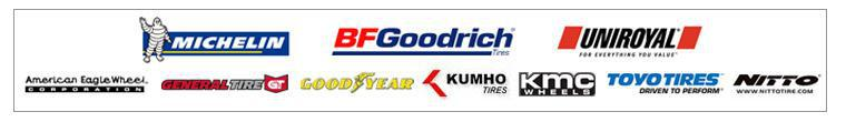 We proudly offer products from: Michelin®, BFGoodrich®, Uniroyal®, American Eagle Wheel, General Tire, Goodyear, Kumho Tires, KMC Wheels, Toyo Tires, and Nitto.