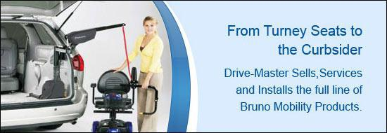From Turney Seats to the Curbsider. Drive-Master Sells Services and Installs the full line on Bruno Mobility Products.