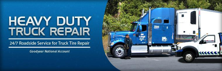 We offer heavy duty truck repair and 24/7 roadside service for truck tire repair! Click here for information.