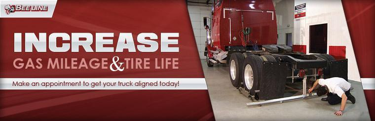 Make an appointment to get your truck aligned today to increase gas mileage and tire life!