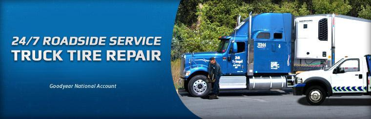 24/7 roadside service. Truck tire repair. Goodyear National Account.
