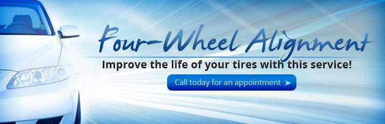 Improve the life of your tires with a four-wheel alignment! Call today for an appointment.