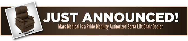 Just Announced! Mars Medical is a Pride Mobility Authorized Serta Lift Chair Dealer.