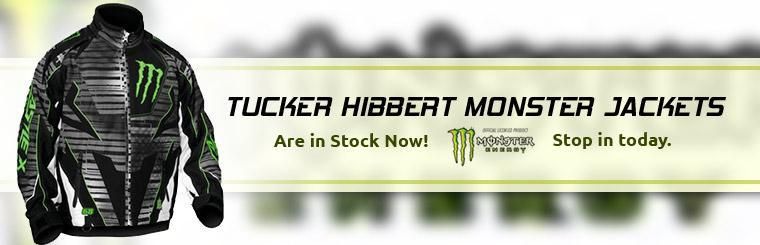 Tucker Hibbert Monster jackets are in stock now! Stop in today.