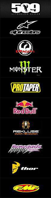 509, Alpinestars, Dragon, Monster, Protaper, Red Bull, Rekluse, Renegade, Thor, and FMF.