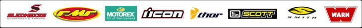 We carry products from Slednecks, FMF, Motorex, Icon, Thor, Scott, Smith, and Warn.