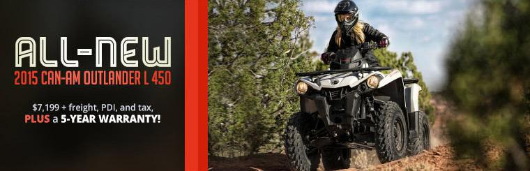 Get the 2015 Can-Am Outlander L 450 for just $7,199 (plus freight, PDI, and tax), plus get a 5-year warranty!