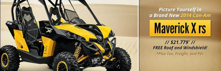 Picture yourself in a brand new 2014 Can-Am Maverick X rs for just $21,799!*