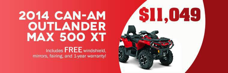2014 Can-Am Outlander MAX 500 XT: Now just $11,049! This offer includes a free windshield, mirrors, fairing, and 1-year warranty!