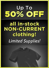 Up to 50% off all in-stock non-current clothing!!