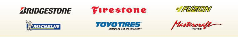 We carry tires from Bridgestone, Firestone, Fuzion, Michelin®, Toyo, and Mastercraft.