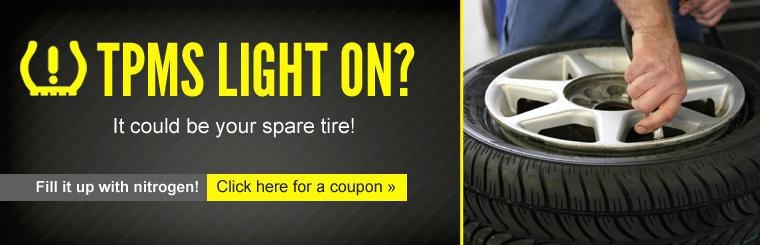 If your TPMS light is on, it could be your spare tire! Click here for a coupon to fill it up with nitrogen.