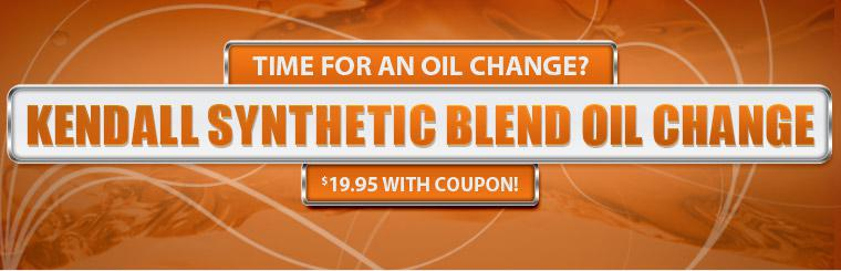 Kendall Synthetic Oil Change Special. $19.95 with coupon!