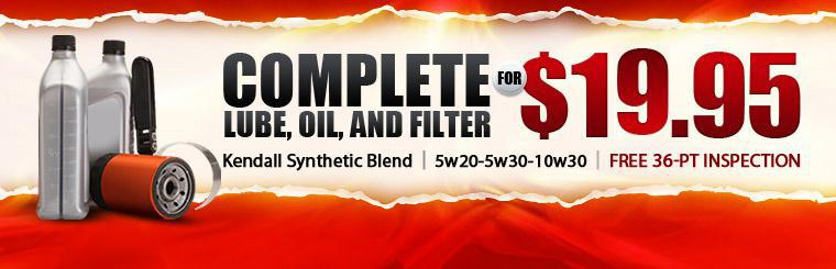 Get a complete lube, oil, and filter change for only $19.95.