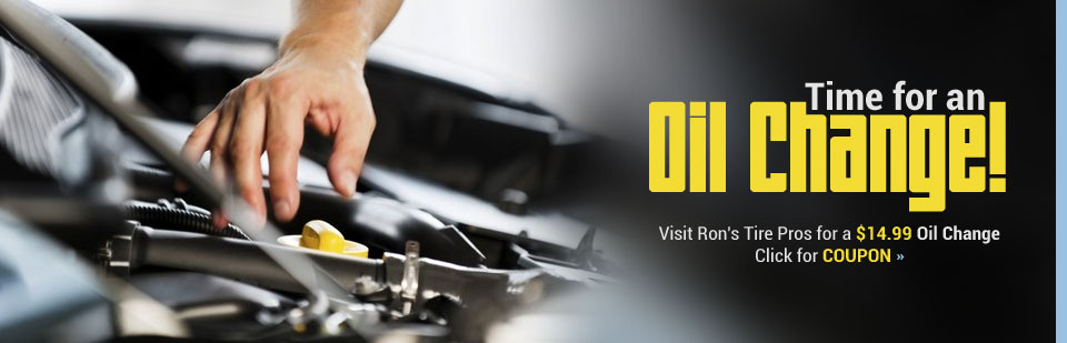 Visit Ron's Tire Pros for a $14.99 oil change! Click here to print the coupon.