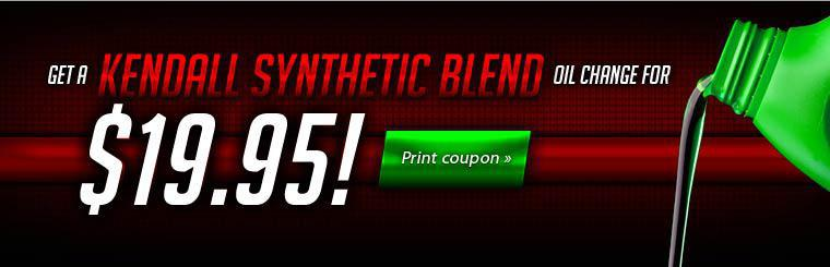 Kendall Synthetic Blend Oil Change only $19.95!