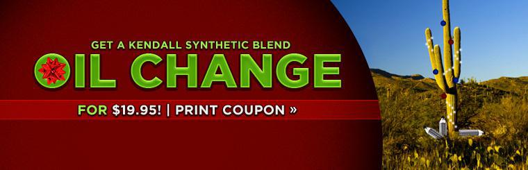 Get a Kendall synthetic blend oil change for $19.95! Click here to print the coupon.