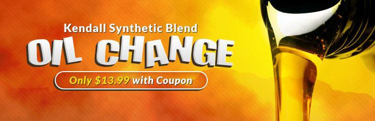 Kendall Synthetic Blend Oil Change: Now only $13.99 with coupon!