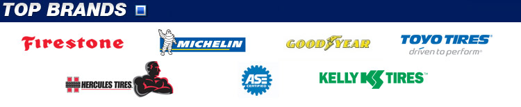 We carry products from Firestone, Michelin, Goodyear, Toyo Tires, Hercules, and Kelly. Our technicians are ASE-certified.