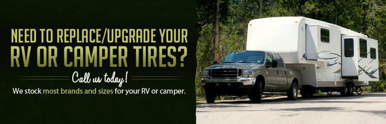 Need to replace/upgrade your RV or camper tires? Call us today! We stock most brands and sizes for your RV or camper. Click here to find your tire size.