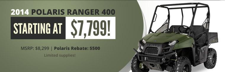 The 2014 Polaris Ranger 400 starts at $7,799!