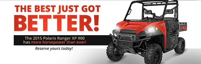 The 2015 Polaris Ranger XP 900 has more horsepower than ever! Reserve yours today!