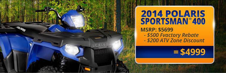 2014 Polaris Sportsman® 400 is now on sale for just $4,999. Click here to check it out.
