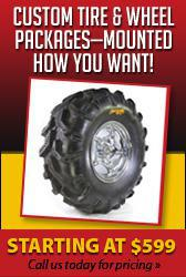 Custom tire and wheel packages—mounted how you want! Starting at $599. Call us today for pricing.