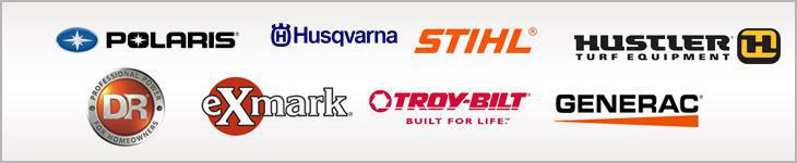 We carry products from Polaris, Husqvarna, Stihl, Hustler, DR, eXmark, Troy-Bilt, and Generac.