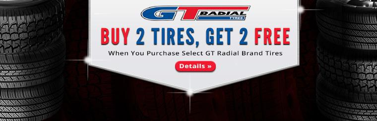 Buy 2 select GT Radial tires, get 2 free! Click here for details.